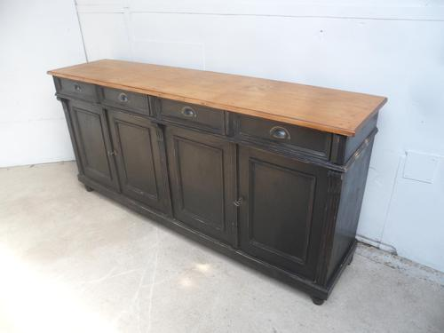 Lovely Reclaimed Pine Painted Black & Waxed 4 Door Dresser Base / TV Stand (1 of 9)