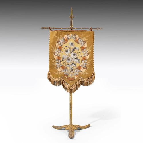 Attractive Late 19th Century Gilded Pole Screen (1 of 4)