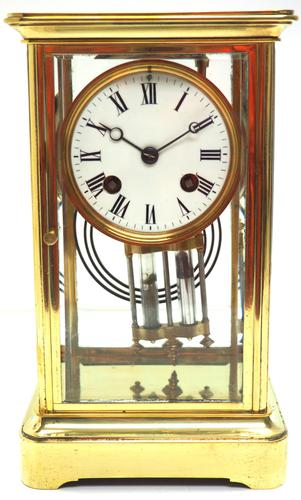 Fine  Antique French Table Regulator with Compensating Pendulum 8 Day 4 Glass Mantel Clock (1 of 11)