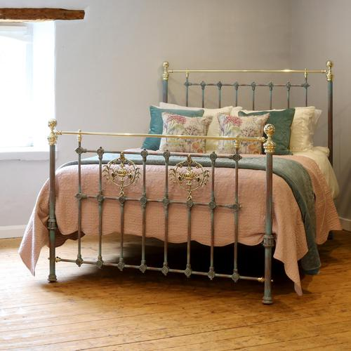 Decorative Antique Bed in Blue Verdigris (1 of 9)
