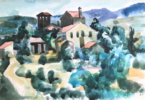 Original Watercolour 'Tuscan Village & Landscape' by Toby Horne Shepherd - Signed Bottom Right. Provenance; Helen Shepherd c.1965 (1 of 1)