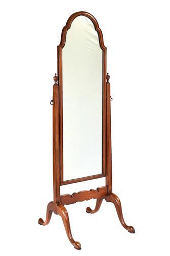 Walnut Queen Anne Style Cheval Mirror c.1930 (1 of 3)