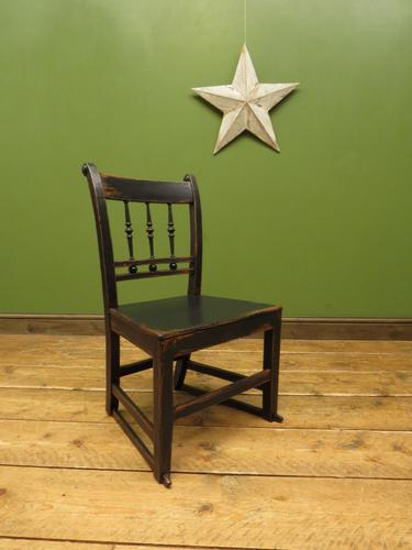 Small Antique Wooden Black Painted Chair, Gothic Shabby Chic (1 of 13)