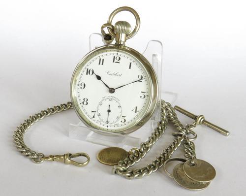 1930s Cortebert Pocket Watch & Chain (1 of 4)