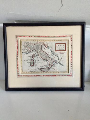 Original Map of Italy by Herman Moll Circa 1720, later framed (1 of 6)