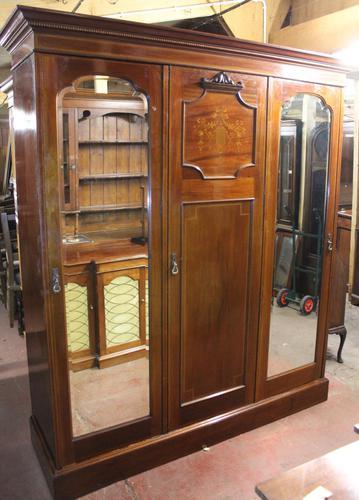 1900s Large 3 Door Mahogany Mirrored Wardrobe with Inlay. Good Interior (1 of 5)