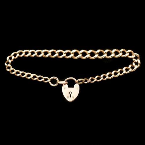 "Antique Heart Padlock Graduated Curb 9ct 9K Gold Bracelet 7.5"" (1 of 9)"
