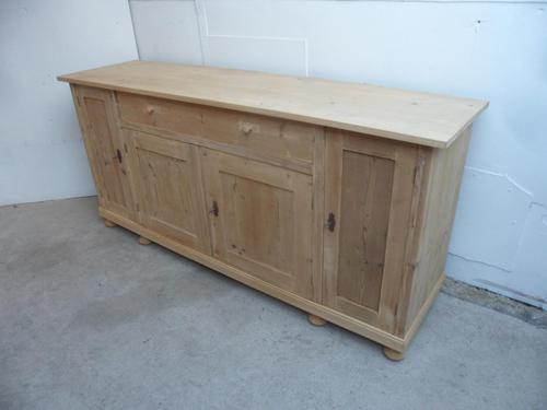 2 Metre Antique Pine 4 Door 1 Drawer Sideboard / TV Stand to wax / paint (1 of 9)