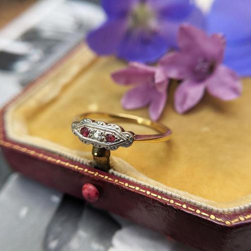 Art Deco 18ct Yellow Gold, Platinum, Ruby & Diamond Trilogy Ring, Antique (1 of 9)