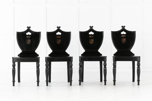 Set of Four 19th Century English Ebonised Hall Chairs (1 of 6)