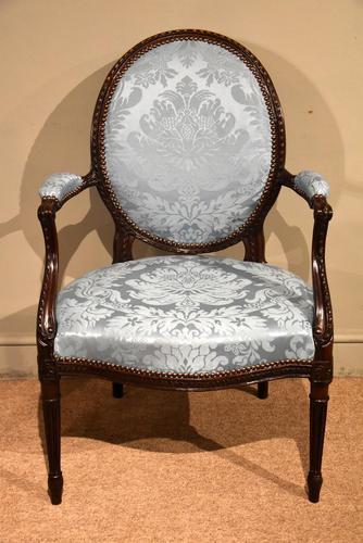 George III Mahogany Oval Back Armchair (1 of 6)