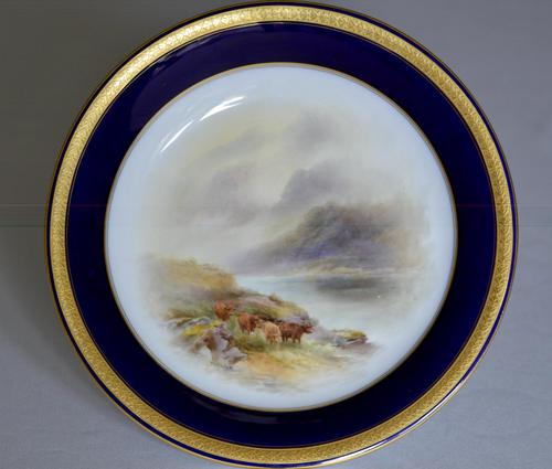 Royal Worcester 1914 Dish - Highland Cattle - Hand-painted by John Stinton (1 of 8)