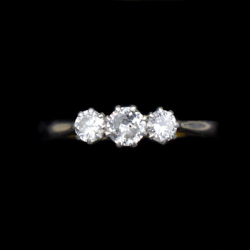 Antique Old Cut Diamond Three Stone Trilogy 18ct Gold and Platinum Ring (1 of 10)