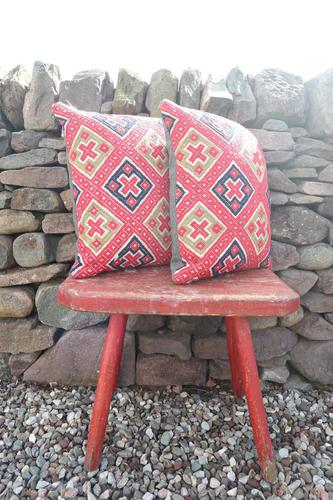 Early 20th Century, Antique Swedish Woven Textile, Geometric Patterned 're-stuffed cushions' (1 of 20)