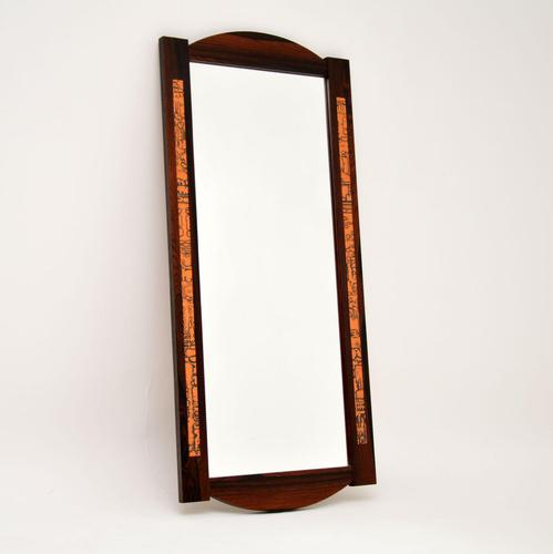 1960's Danish Vintage Rosewood & Copper Mirror (1 of 9)