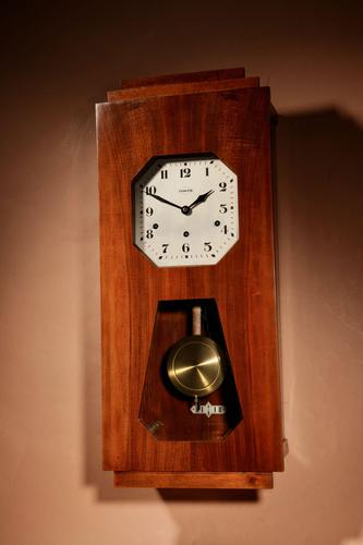 A vedette plain very stylish art deco westminster carillon walnut wall clock french circa 1935 (1 of 15)
