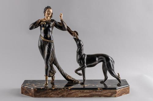Stunning Art Deco Spelter & Ivorine Sculpture by Menneville & Rochard (1 of 7)