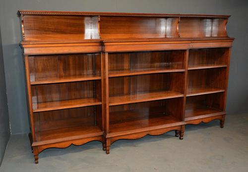 Walnut Breakfront Open Bookcase (1 of 3)