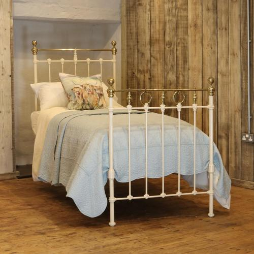 Cream Straight Top Rail Victorian Single Antique Bed with Brass Detailing (1 of 6)