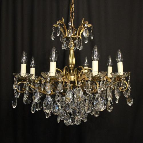 Italian Gilded Brass 8 Light Antique Chandelier (1 of 8)