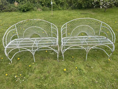 Pair of Art Deco Style Peacock Design Garden Curved Benches (1 of 35)