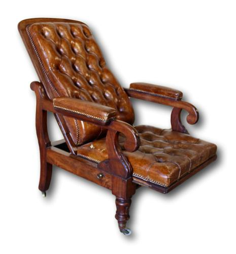 Victorian Mahogany Reclining Library Chair (1 of 7)