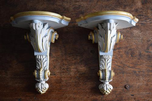 Late 19th Century Gilt and White Painted Corner Wall Brackets (1 of 10)