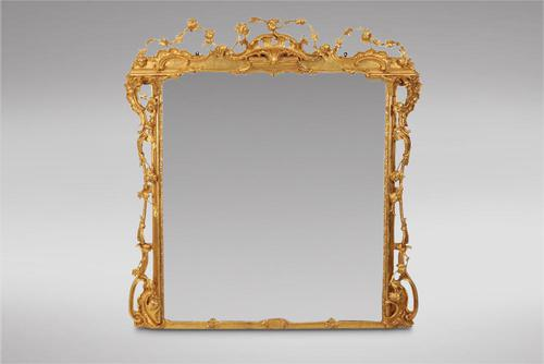 Decorative Good Sized Gilt Carved Wood Mantel Mirror (1 of 3)
