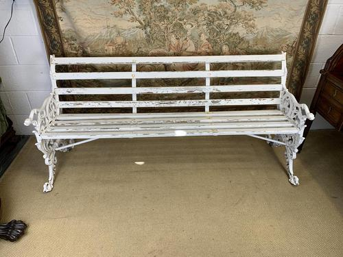 Large White Cast Iron Garden Bench (1 of 6)