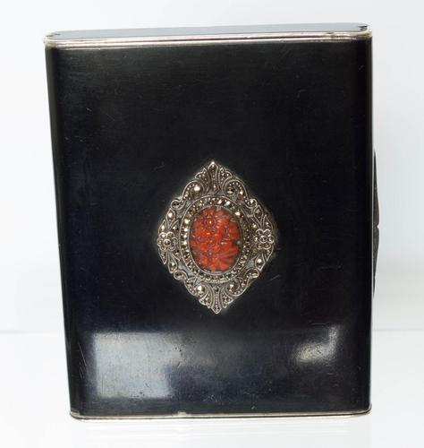 Fine Quality Silver, Black Enamel, Coral and Marcasite Case (1 of 6)