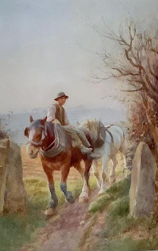 Edwin Bottomley Watercolour 'returning home at the end of the day' (1 of 2)