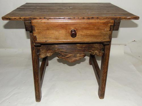 Spanish Pine Low Side Table (1 of 6)