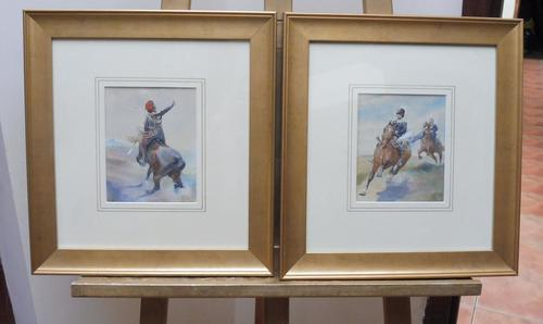 Pair of Victorian Watercolours The Hussars Artist George Clark (1 of 10)