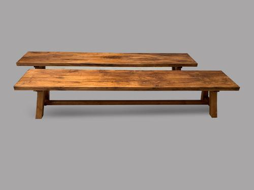 A Pair of Heavy Oak Benches (1 of 4)