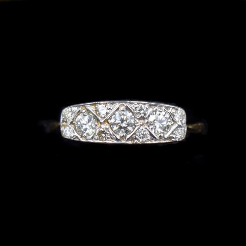 Antique Diamond 11 Stone 18ct 18K Yellow Gold & Platinum Ring (1 of 10)