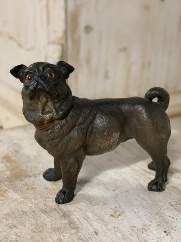 19th Century Painted Terracotta Pug (1 of 3)