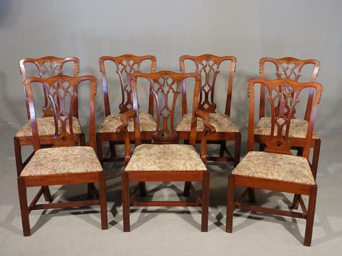 Attractive Early 20th Century Set of 7 '6+1' Chippendale Style Mahogany Framed Chairs (1 of 7)