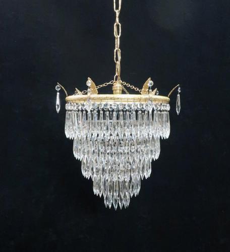 Italian Art Deco Five Tier Crystal Glass Chandelier, 1930s (1 of 7)