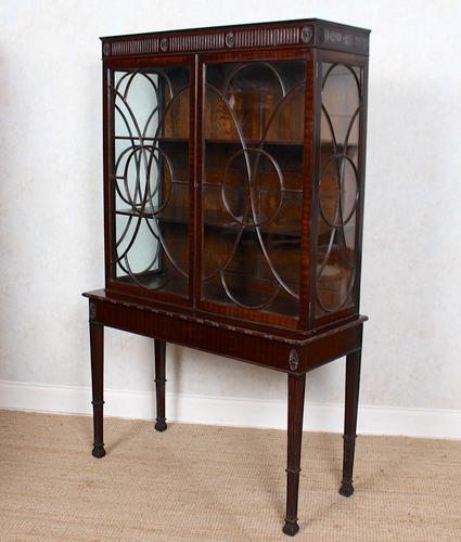 Edwardian Glazed Bookcase Cabinet on Stand Astragal Mahogany (1 of 11)