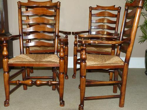 Set of Six (4+2) Ladderback Dining Chairs (1 of 4)