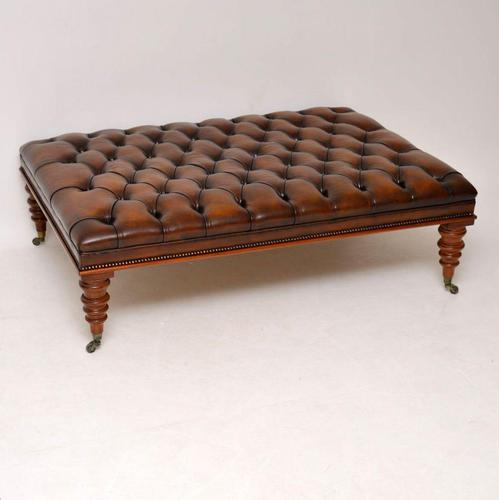 Large Antique Victorian Style Leather & Mahogany Stool / Coffee Table (1 of 8)