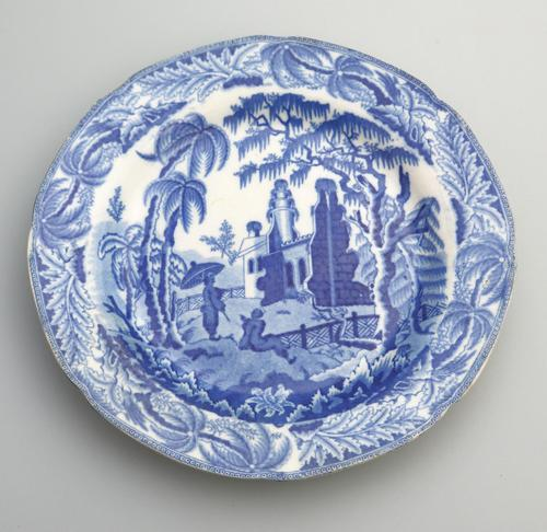Davenport - Early Pottery Chinoiserie Ruins Blue & White Plate c.1800 (1 of 3)