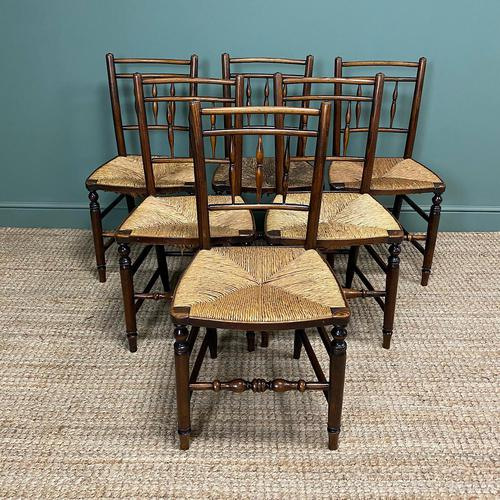 Set of Six Georgian Elm Country House Antique Dining Chairs (1 of 11)