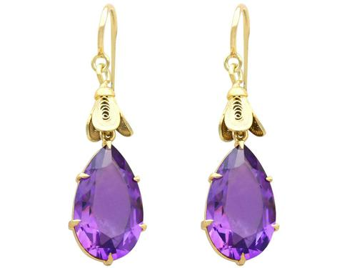 9.58ct Amethyst & 15ct Yellow Gold Drop Earrings - Antique c.1890 (1 of 9)