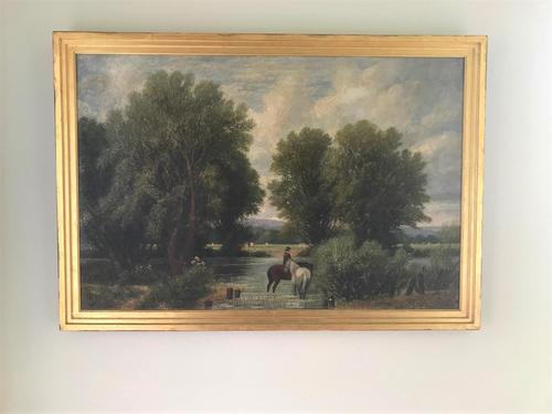 Original Oil on Canvas 'watering the Horses' by William Taunton. Signed c.1870 (1 of 4)