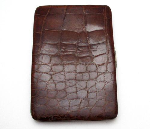 Quality Large Edwardian Antique Crocodile Skin Leather Wallet Purse Card Stamp Case c.1910 (1 of 8)