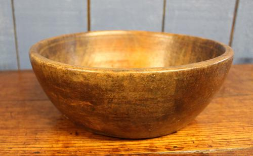 Early 19th Century Turned Wooden Flat Bottom Bowl Treen Eare. (1 of 9)