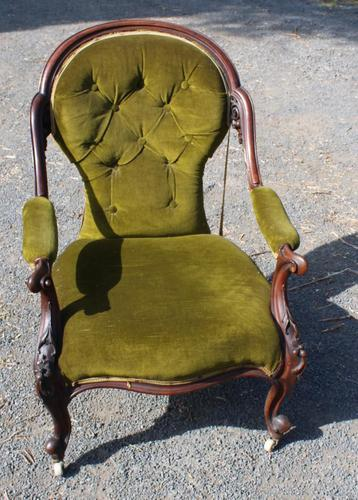 1900's Mahogany Open Arm Nursing Chair in Green (1 of 3)