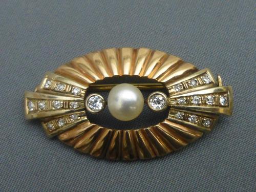 Art Deco Gold, Diamond & Button Pearl Brooch (1 of 5)