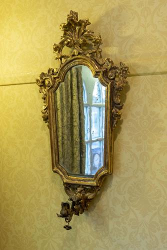 Italian Carved Giltwood Wall Mirrors with candle-holders (1 of 4)